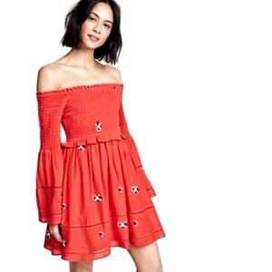Free People Counting Daisies Dress Red Size Small